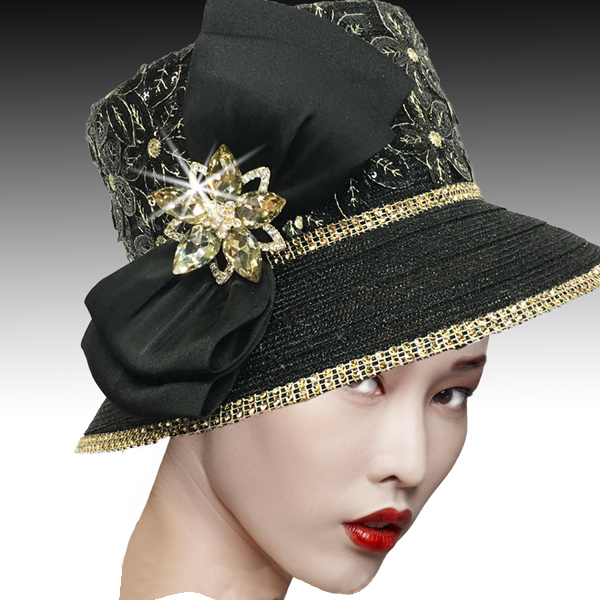 2526 SUSSEX-BG ( Embroidered and Beaded Bucket Hat With Profile Bow )