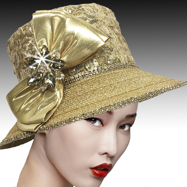 2526 SUSSEX-G ( Embroidered and Beaded Bucket Hat With Profile Bow )