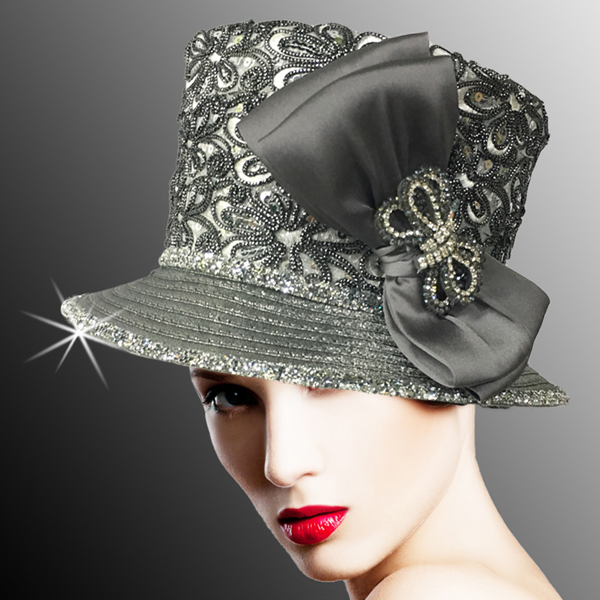 2526 SUSSEX-GM ( Embroidered and Beaded Bucket Hat With Profile Bow )