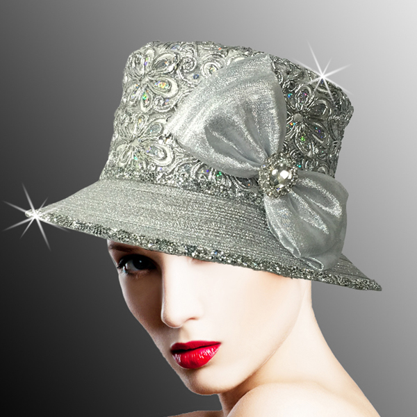 2526 SUSSEX-SIL ( Embroidered and Beaded Bucket Hat With Profile Bow )