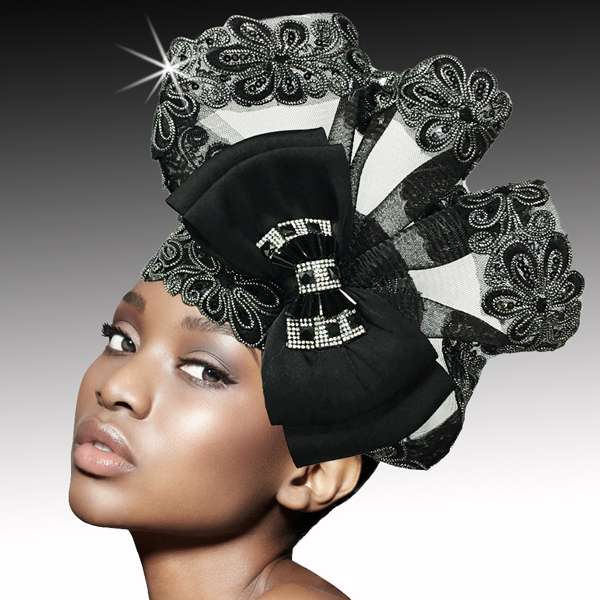 2527 POMPADOUR-BLK ( Metallic Soutache and Beaded Bubble )