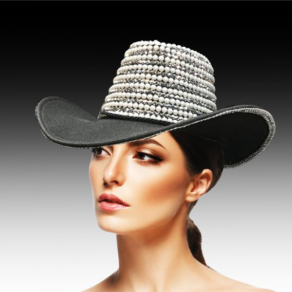 2217 VIRGINIA ( Pearl and Rhinestone Encrusted Outback Hat )