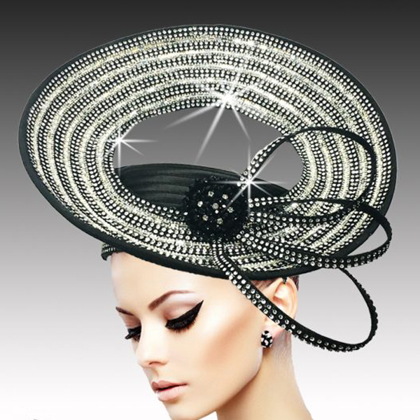 2534 ARENA-BLK ( Dramatic Rhinestone Halo Pillbox )