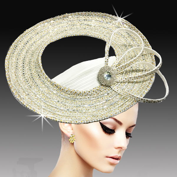 2534 ARENA-WHT ( Dramatic Rhinestone Halo Pillbox )