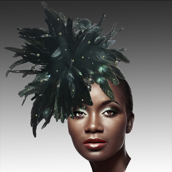 FA2280 DAZZLE-BLK ( Fireworks of  Feather Fascinator )