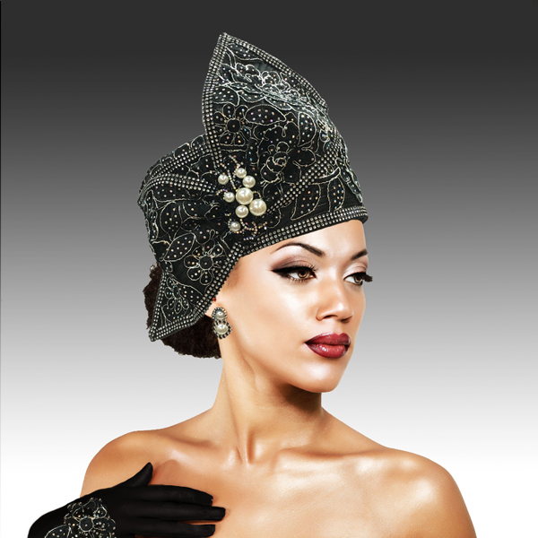 S2234 MISS BETTY ( Lace encrusted satin braided pillbox with sculpted profile bow and matching gloves )
