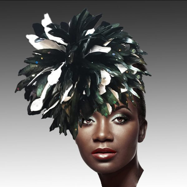 FA2280 DAZZLE-BW ( Fireworks of  Feather Fascinator )