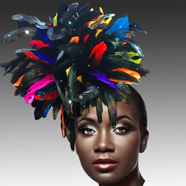 FA2280 DAZZLE-BM ( Fireworks of  Feather Fascinator )