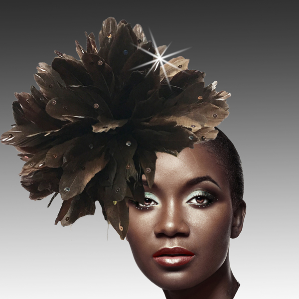 FA2280 DAZZLE-BRN ( Fireworks of  Feather Fascinator )