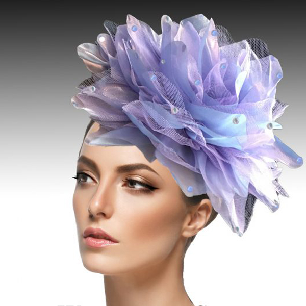 FA1705- IAN FASCINATOR-LI ( Headband fascinator with oversized shimmer organza and tulle flower )