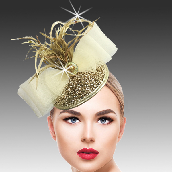 FA2500 BUGLE FASCINATOR-G (Bugle Beaded Headband Fascinator )