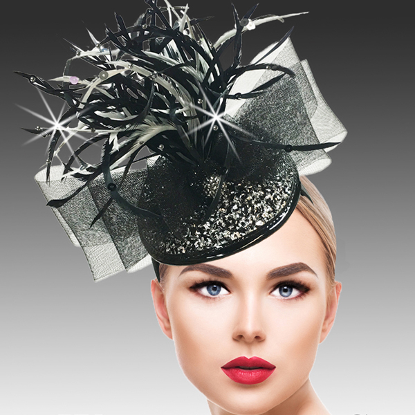 FA2500 BUGLE FASCINATOR-BLKS ( Bugle Beaded Headband Fascinator )