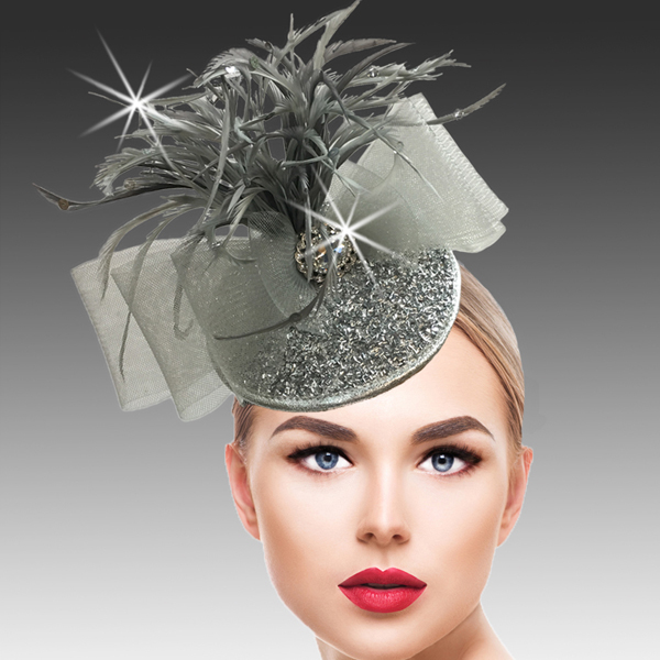 FA2500 BUGLE FASCINATOR-SIL ( Bugle Beaded Headband Fascinator )