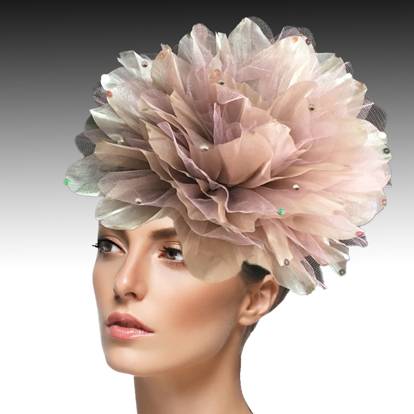 FA1705- IAN FASCINATOR-F ( Headband fascinator with oversized shimmer organza and tulle flower )