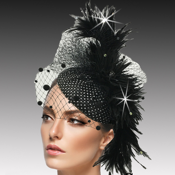 FA2502 PISCES-BLK ( Jewel Encrusted Juliet Cap Headband Fascinator )