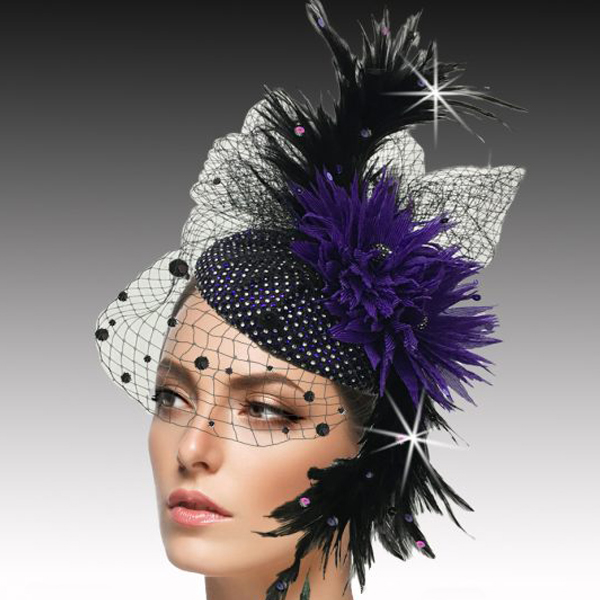FA2502 PISCES-P ( Jewel Encrusted Juliet Cap Headband Fascinator )