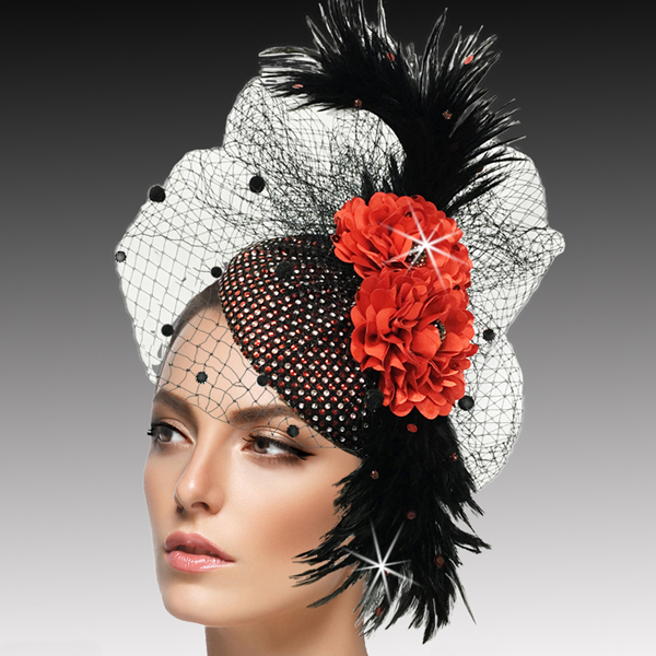 FA2502 PISCES - RB ( Jewel Encrusted Juliet Cap Headband Fascinator )