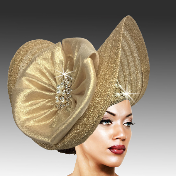 2503 FLYING NUN-G ( Sculpted Large Brim with Pearl and Crystal Accents )