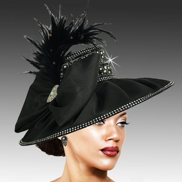 2504 JONAH-BLK ( Draped Peau de Soie Hat with Jewel Crown )