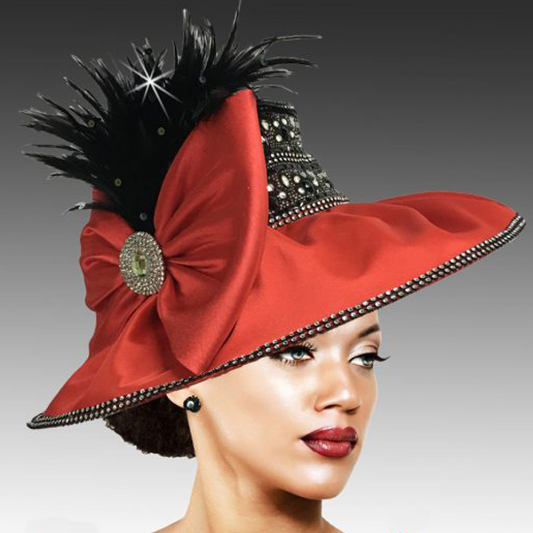 2504 JONAH-RB ( Draped Peau de Soie Hat with Jewel Crown )