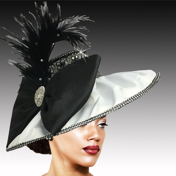 2504 JONAH-WB ( Draped Peau de Soie Hat with Jewel Crown )