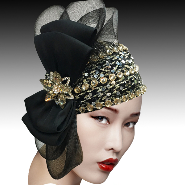 2505 SPEAKEASY-BG ( Jewel Encrusted Flapper Bubble with Profile Bow )