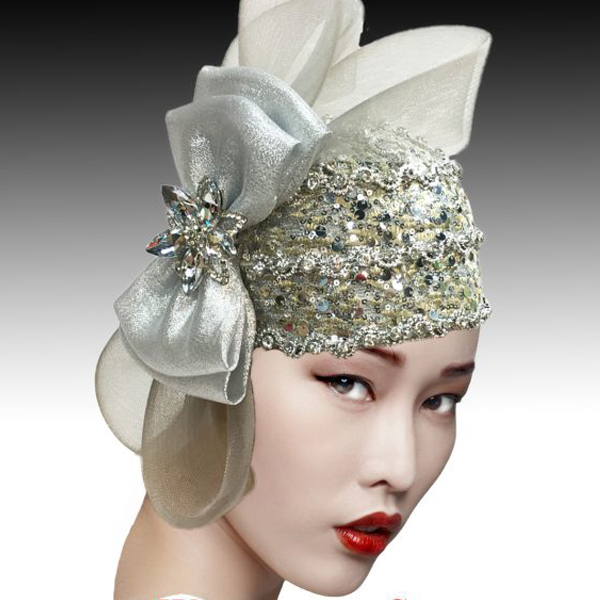 2505 SPEAKEASY-SIL ( Jewel Encrusted Flapper Bubble with Profile Bow )