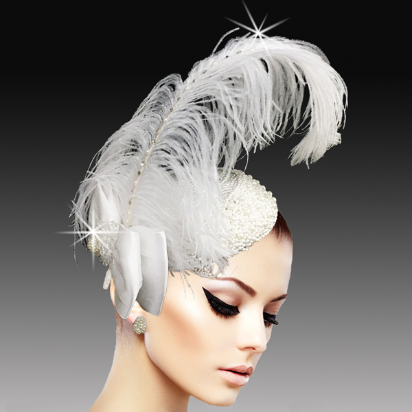 FA2507 VIRGIL-W ( Regal Ostrich Plume Headband Fascinator )