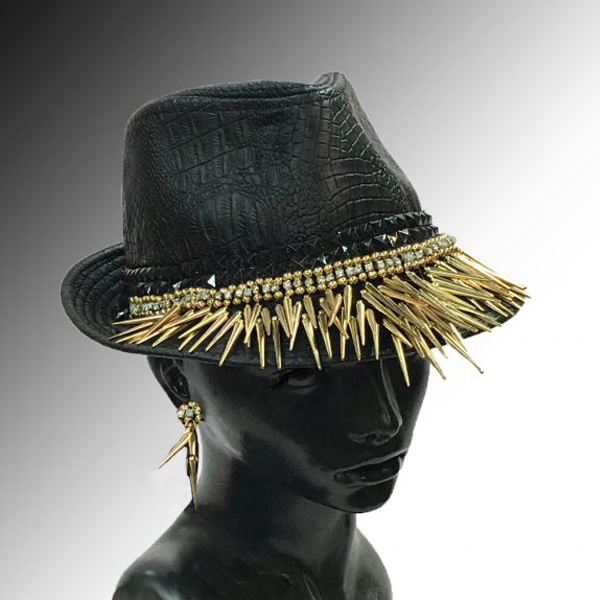 2157 LUCIOUS-BLK ( Fedora with Gold Stalactites )