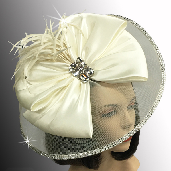FA2510 JEWEL BOX-WH ( Illusion Fascinator With Jewel Brooch )