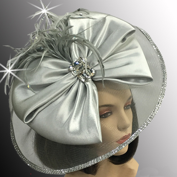 FA2510 JEWEL BOX-SIL ( Illusion Fascinator With Jewel Brooch )