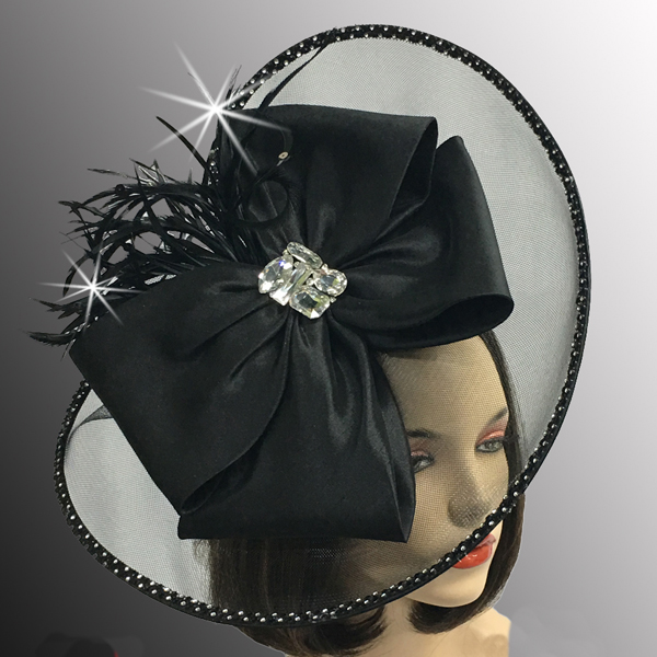 FA2510 JEWEL BOX-BLK ( Illusion Fascinator With Jewel Brooch )
