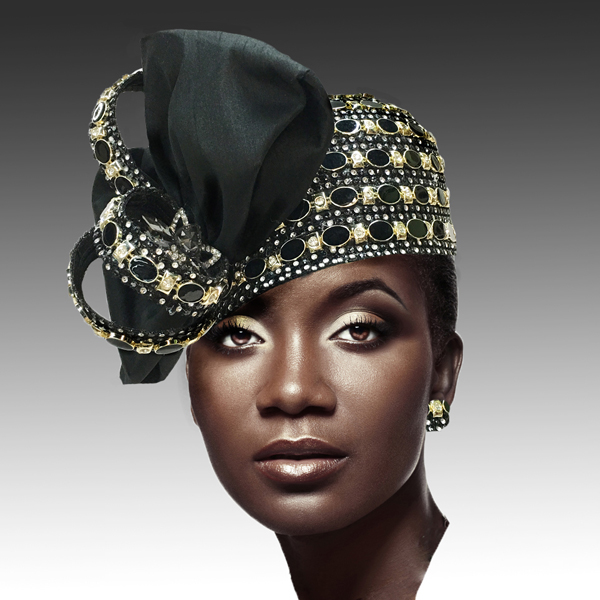 2188 ADORA-BLK ( Jewel Encrusted Flapper Hat )