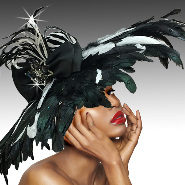 2511 KENYA-Z ( Dramatic Feather Brim  Hat )