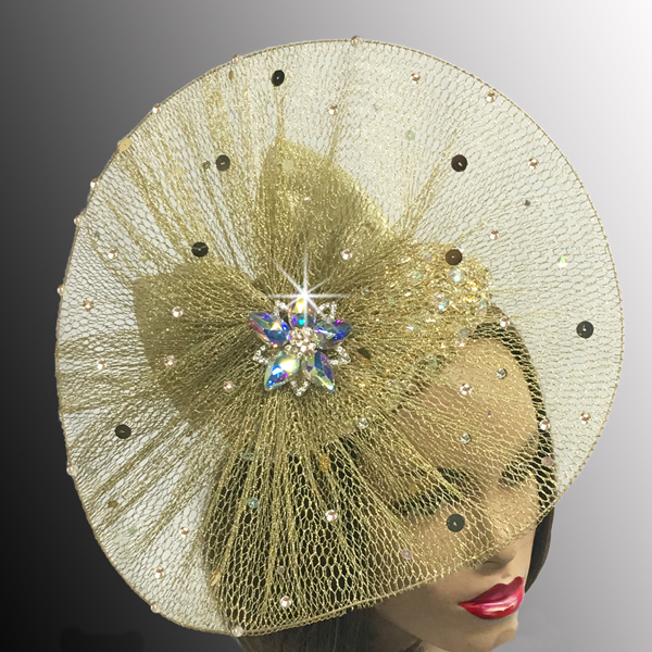 FA2513 BILLIE-G ( Metallic Mesh Pinwheel Jewel Fascinator )