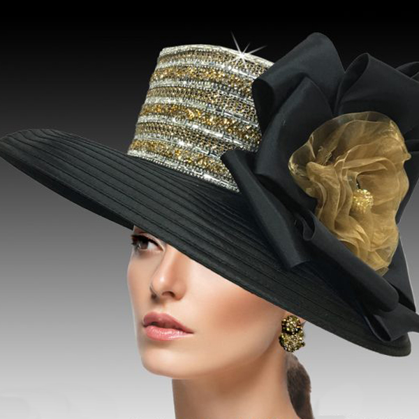 2515 ELLA-G ( Crystal and Diamond Dust Classic Large Brim )
