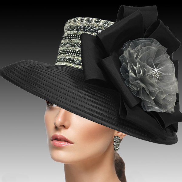 2515 ELLA-BGM ( Crystal and Diamond Dust Classic Large Brim )