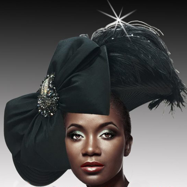 2516 VICEROY-BLK ( Jewel Ostrich Plume Profile Hat )