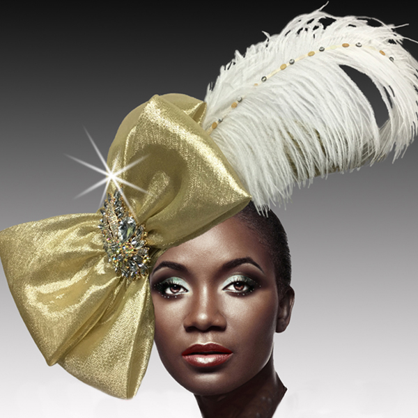 2516 VICEROY-G ( Jewel Ostrich Plume Profile Hat )
