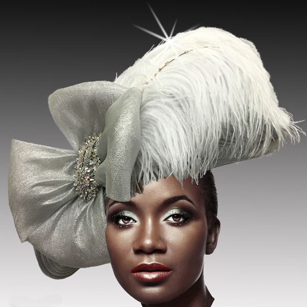 2516 VICEROY-SIL ( Jewel Ostrich Plume Profile Hat )