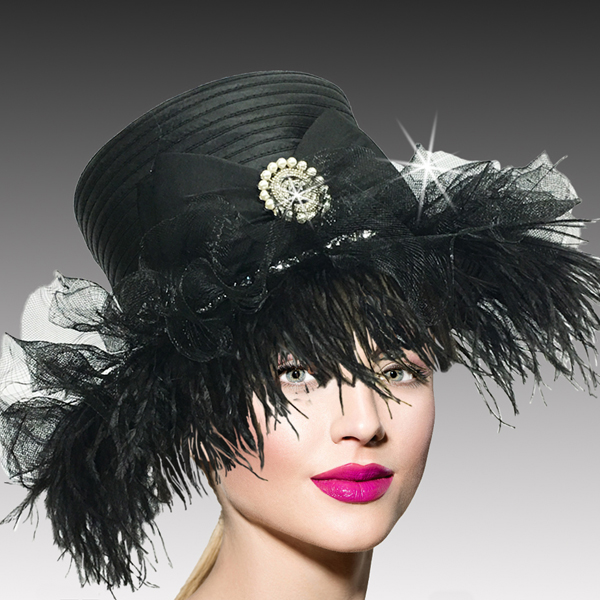 2517 ZSA ZSA-BLK ( Whimsical Ostrich Trimmed Medium Brim Hat )