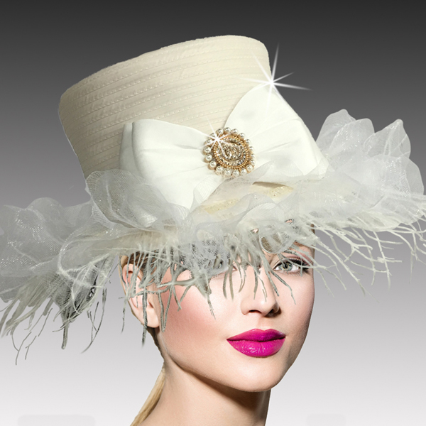 2517 ZSA ZSA-IV ( Whimsical Ostrich Trimmed Medium Brim Hat )