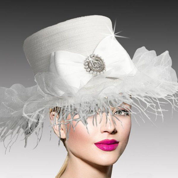 2517 ZSA ZSA-W ( Whimsical Ostrich Trimmed Medium Brim Hat )