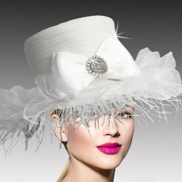 2517 ZSA ZSA-W ( Whimsical Ostrich Trimmed Medium Brim Hat )