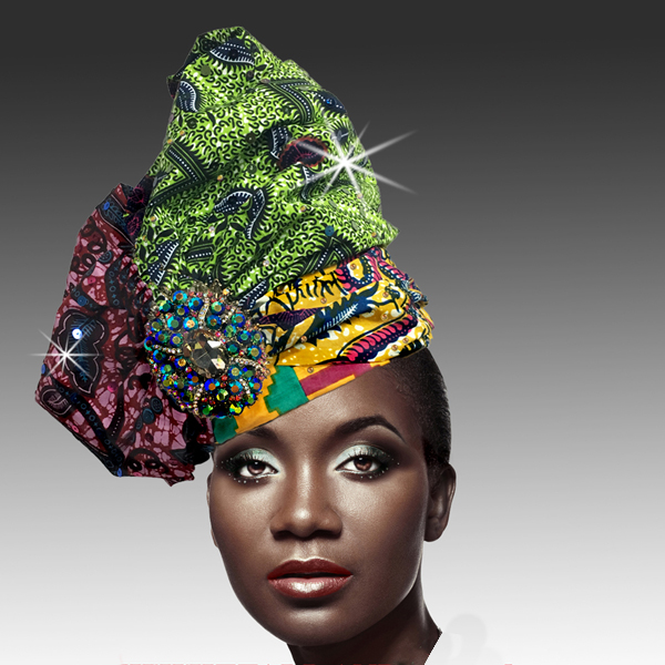 2518 ABABA-AS ( Exotic Draped Turban with Jewel Brooch )