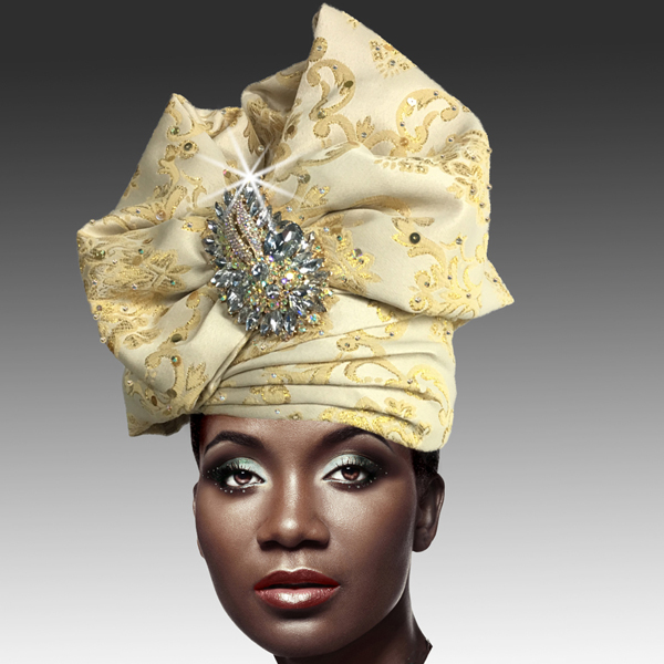 2518 ABABA-BG ( Exotic Draped Turban with Jewel Brooch )