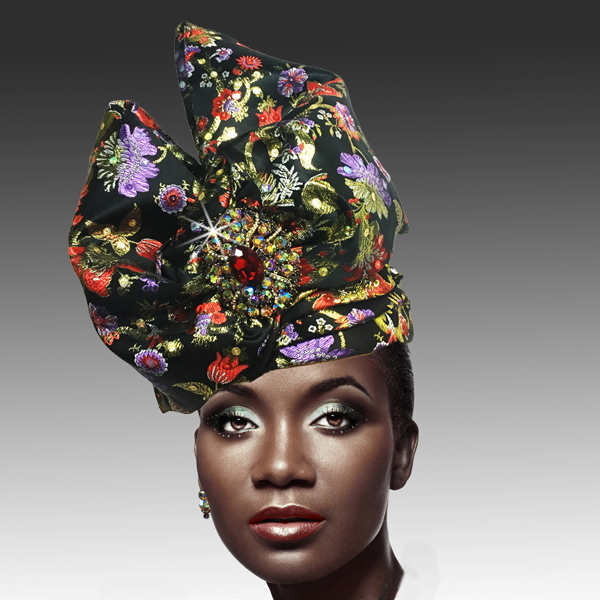 2518 ABABA-BLKM ( Exotic Draped Turban with Jewel Brooch )