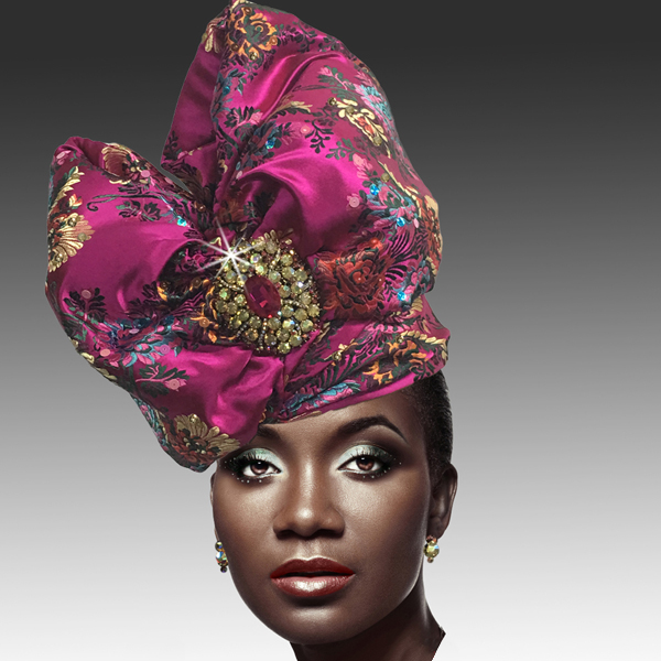 2518 ABABA-FM ( Exotic Draped Turban with Jewel Brooch )