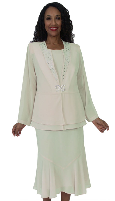 HD Couture 5144-WH ( 3Pc Fully Lined Georgette Suit With Embellished Jacket And Elastic Waistband )