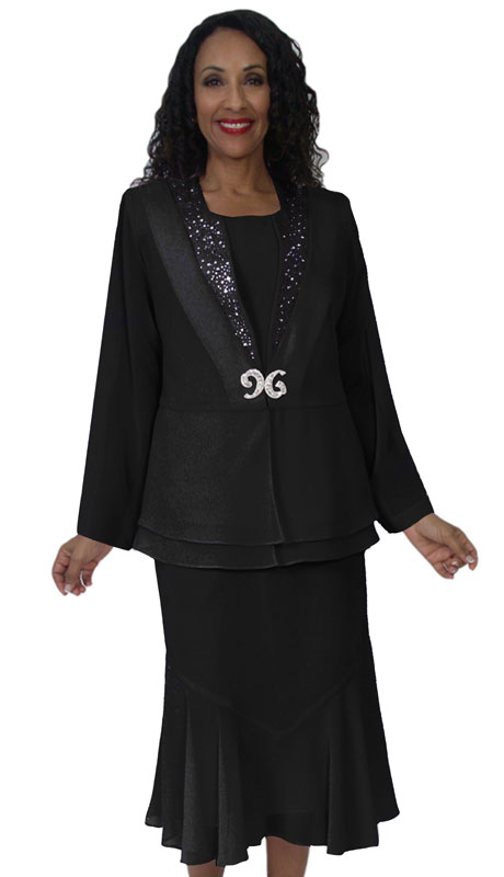 HD Couture 5144-BL ( 3Pc Fully Lined Georgette Suit With Embellished Jacket And Elastic Waistband )